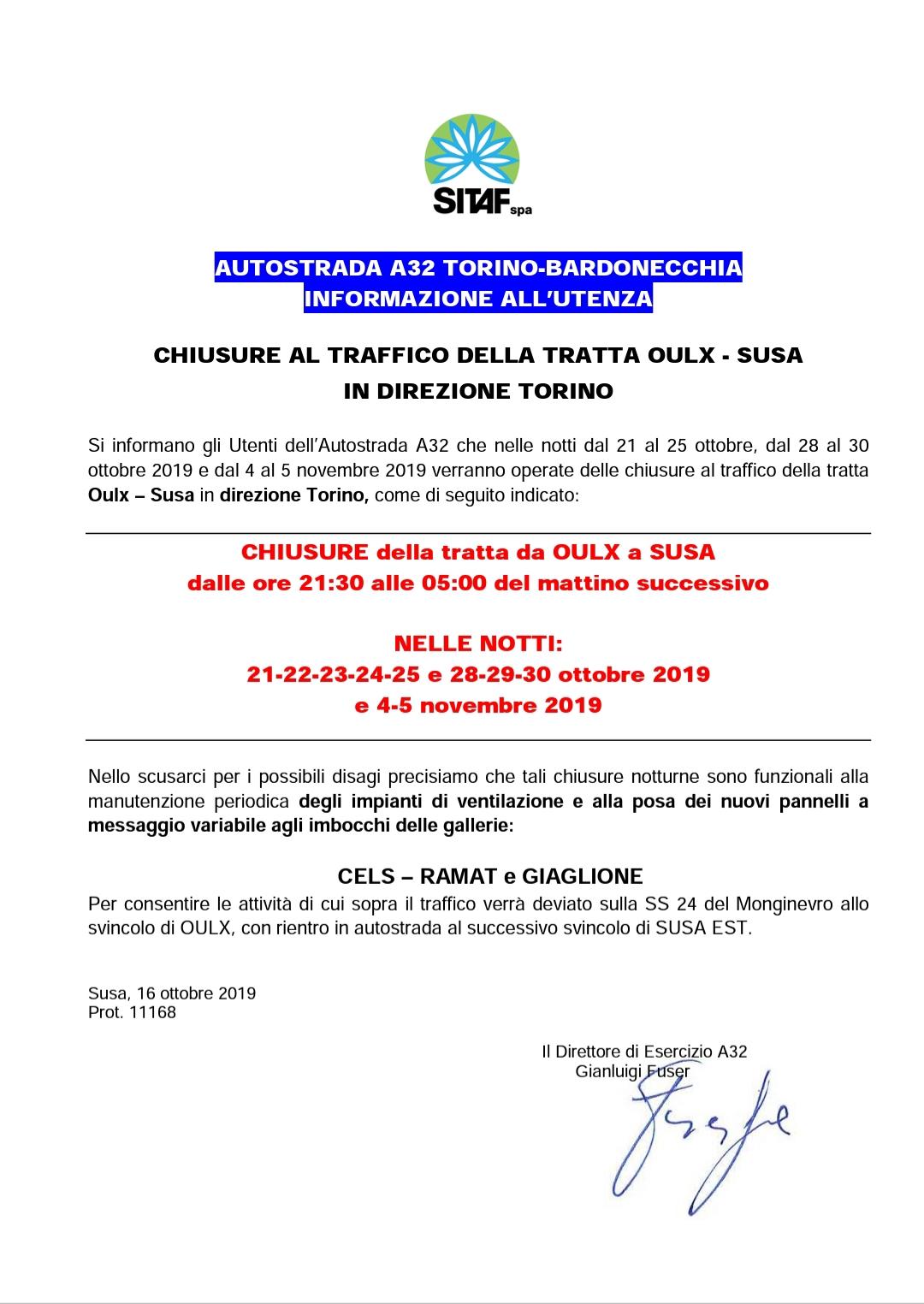 Autostrada A32 Torino-Bardonecchia: chiusura per 10 notti