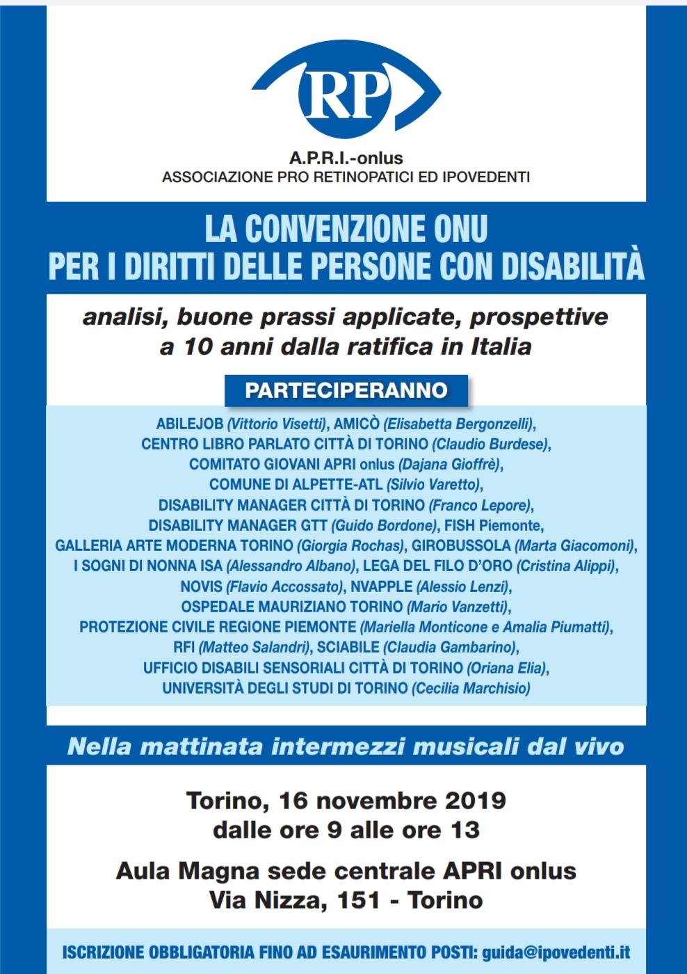 Convenzione ONU: un convegno organizzato da A.P.R.I. Onlus
