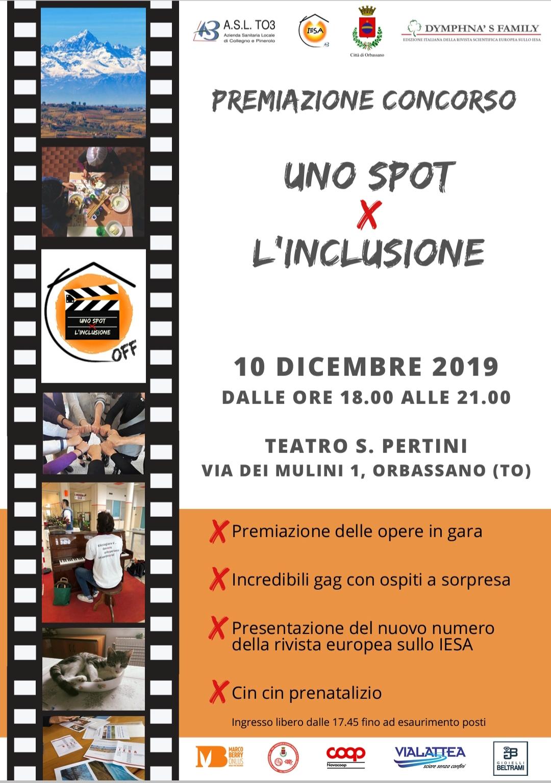 """""""Uno spot x l'inclusione"""": martedì 10 dicembre le premiazioni a Orbassano"""