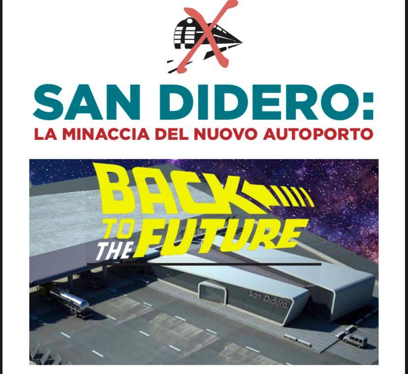 Back to the future: la minaccia del nuovo autoporto a San Didero in un manifesto